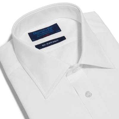 Classic Fit, Classic Collar, Double Cuff Shirt in a Plain White Sea Island Quality Poplin Cotton