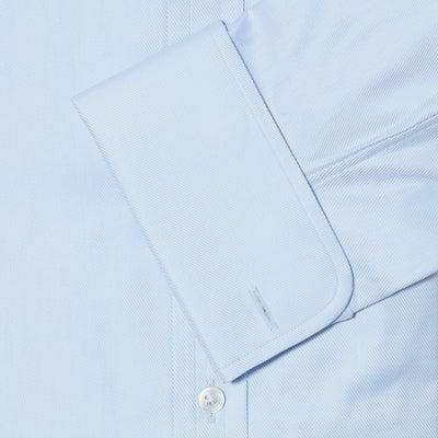 Classic Fit, Classic Collar, Double Cuff Shirt in a Plain Light Blue Twill Cotton