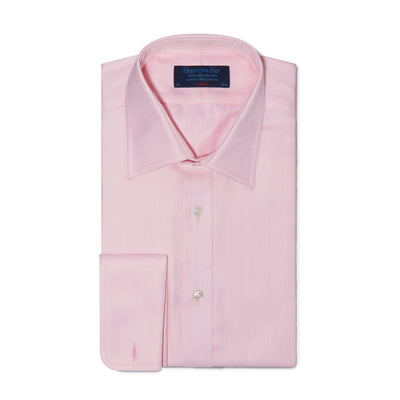 Classic Fit, Classic Collar, Double Cuff Shirt in a Plain Pink Herringbone Cotton