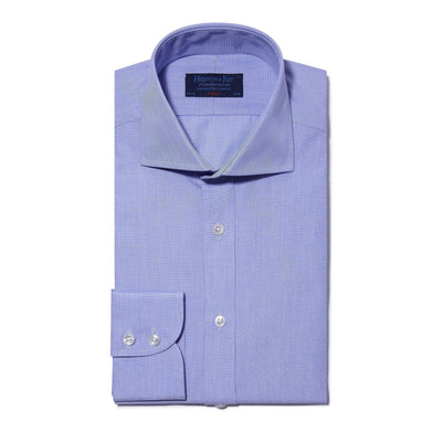 Classic Fit, Cut-away Collar, 2 Button Cuff Shirt in a Plain Blue End-On-End Cotton