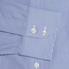 Classic Fit, Cut-away Collar, 2 Button Cuff Shirt in a Blue & White Fine Bengal Poplin Cotton