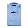 Classic Fit, Classic Collar, 2 Button Cuff Shirt In Plain Blue Herringbone