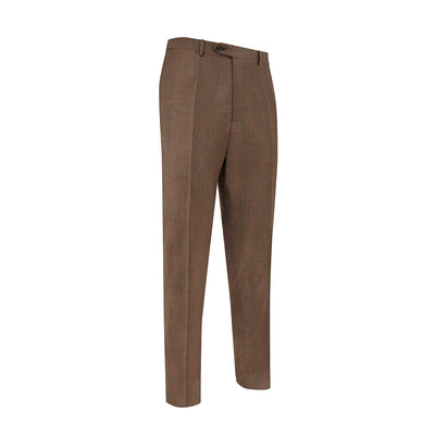 Brown Prince of Wales Check Woollen Trousers