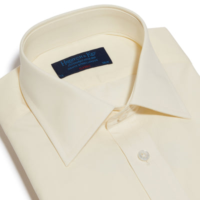 Classic Fit, Classic Collar, Double Cuff Shirt in a Plain Cream Poplin Cotton