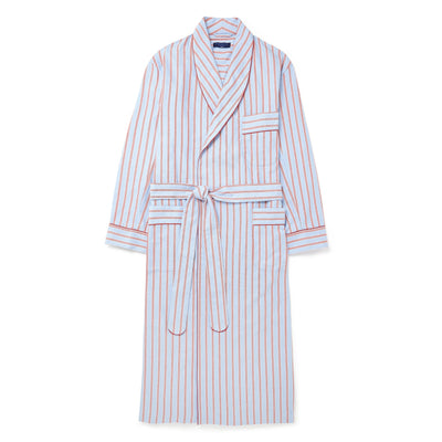 Blue & Red Striped Brushed Cotton Gown