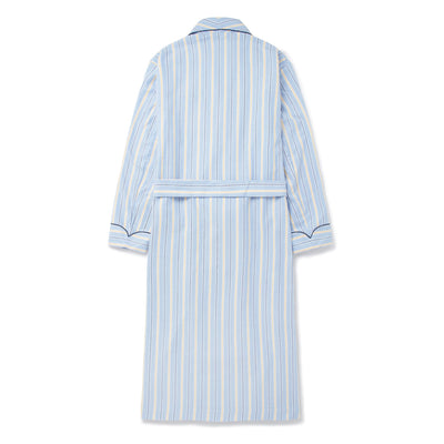 Blue & Yellow Striped Brushed Cotton Gown