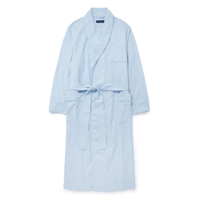 Blue Striped Poplin Cotton Gown