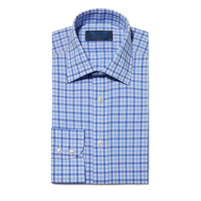 Classic fit, Classic Collar, Two Button Cuff Shirt In Blue Check