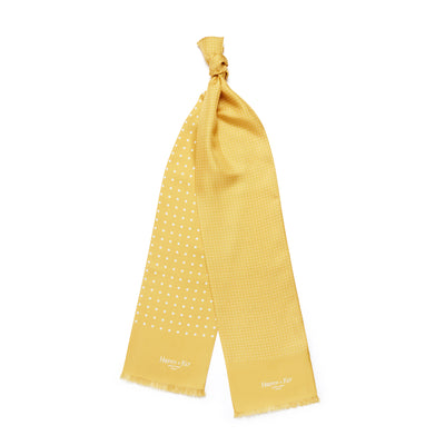 Yellow With White Spots 100% Silk Tubular Scarf
