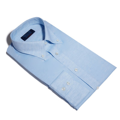 Contemporary Fit, Button Down Collar, 2 Button Cuff Shirt in a Plain Light Blue Linen