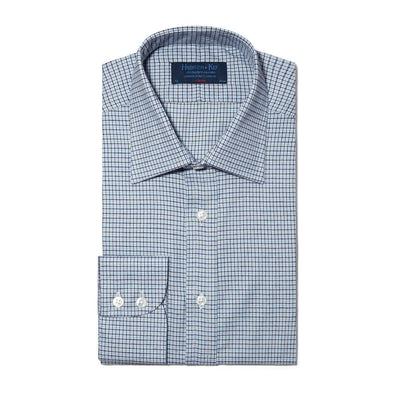 Classic Fit, Classic Collar, 2 Button Cuff Shirt In Navy, Blue & White Houndstooth Check