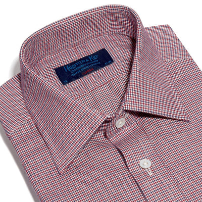 Classic Fit, Classic Collar, 2 Button Cuff Shirt In Navy, Red & White Houndstooth Check