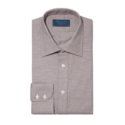 Classic Fit, Classic Collar, 2 Button Cuff Shirt In Navy, Brown & White Houndstooth Check