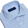 Contemporary Fit, Cut-away Collar, Double Cuff Shirt In Blue With Navy Line Overcheck