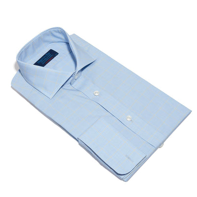 Contemporary Fit, Cut-away Collar, Double Cuff Shirt In Blue With Yellow Line Overcheck