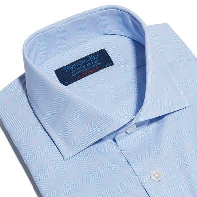 Contemporary Fit, Cut-away Collar, Double Cuff Shirt In Blue With Pink Line Overcheck