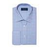 Contemporary Fit, Classic Collar, Double Cuff Shirt In Blue With Red Line Overcheck