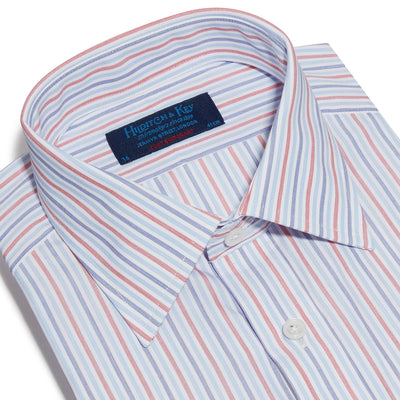 Contemporary Fit, Classic Collar, Double Cuff Shirt In Navy,Blue & Red Ladder Stripe