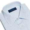 Contemporary Fit, Classic Collar, Double Cuff Shirt In White With Light Blue Fine Pin Stripe