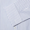 Contemporary Fit, Classic Collar, Double Cuff Shirt In White With Navy Fine Pin Stripe