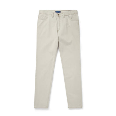 Plain Stone White Brushed Cotton Jeans
