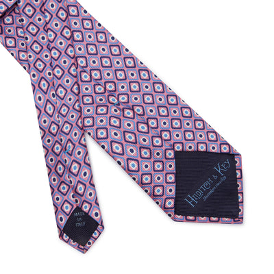 Pink Diamonds & Squares Printed Silk Tie