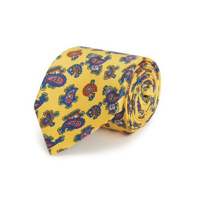 Yellow Small Paisley Printed Silk Tie