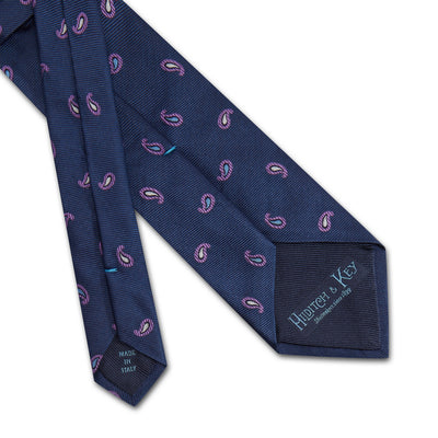 Navy & Lilac Paisley Woven Silk Tie