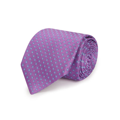 Lilac Small Flowers Woven Silk Tie