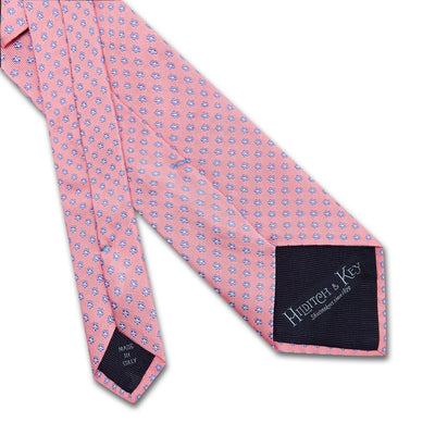 Pink Small Flowers Woven Silk Tie