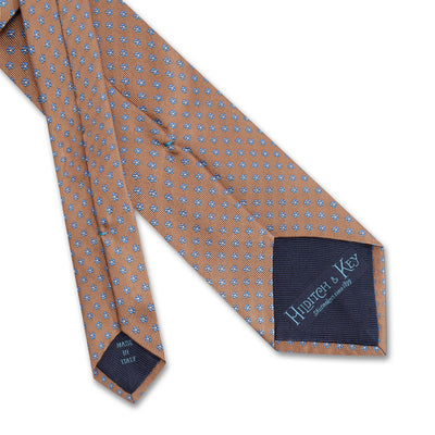 Camel Small Flowers Woven Silk Tie