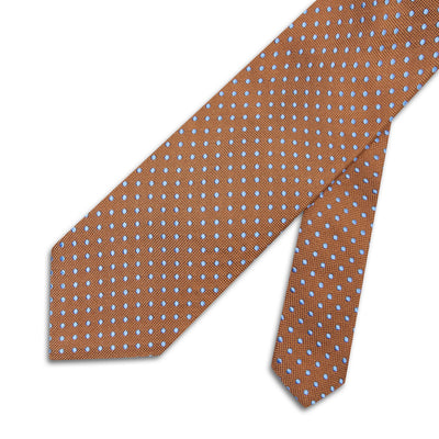 Brown & Blue Spots Woven Silk Tie