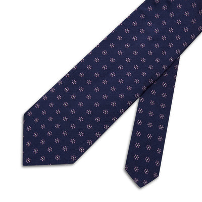 Navy & Lilac Flowers Woven Silk Tie
