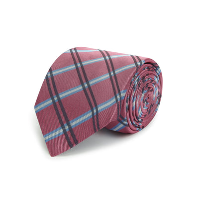 Pink Large Overchecked Woven Silk Tie