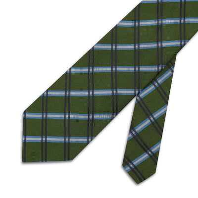 Green Large Overchecked Woven Silk Tie