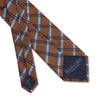 Brown Large Overchecked Woven Silk Tie