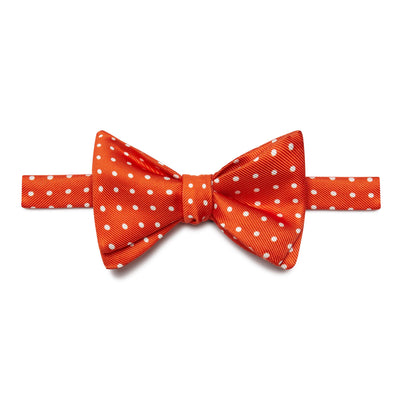 Orange & White Spots Silk Handmade Bow Tie