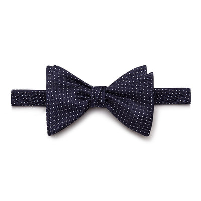 Dark Navy & White Spots Silk Handmade Bow Tie
