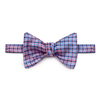 Pink, Navy, Blue & Light Blue Circles Silk Handmade Bow Tie