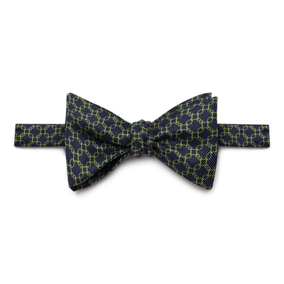 Navy, Lime Green & Green Chain Links Silk Handmade Bow Tie