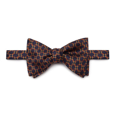 Navy, Yellow & Orange Chain Links Silk Handmade Bow Tie