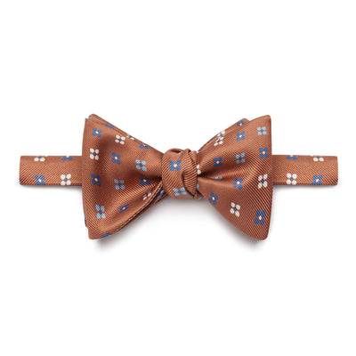 Brown Floral Silk Handmade Bow Tie