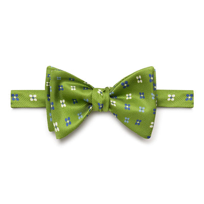 Green Floral Silk Handmade Bow Tie