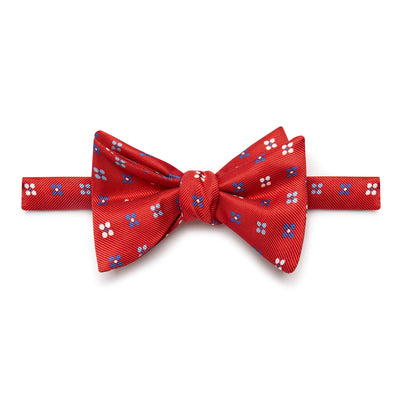Red Floral Silk Handmade Bow Tie