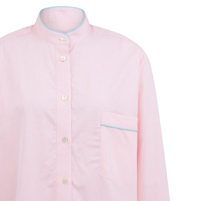 Ladies White With Pink Check & Turquoise Piping Cotton Nightshirt