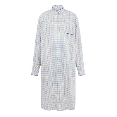 Ladies Cream With Blue & Brown Check & Navy Piping Cotton Nightshirt