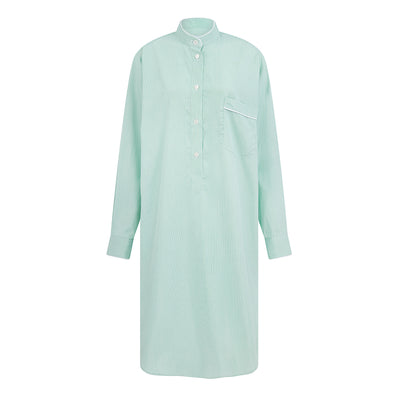 Ladies White With Green Stripe Cotton Nightshirt