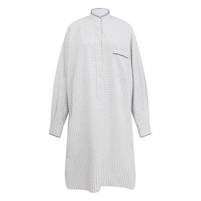 Ladies White With Grey Check Cotton Nightshirt