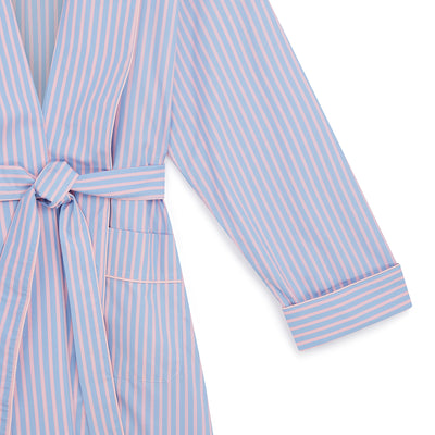 Ladies Blue With Pink Stripe Cotton Gown