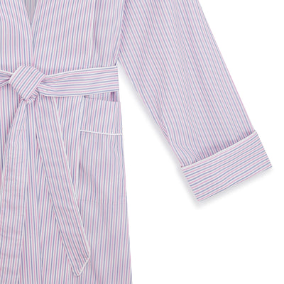 Ladies White With Pink & Navy Stripe Cotton Gown